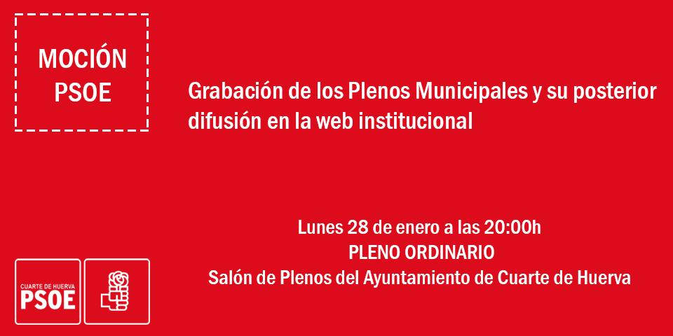 Pleno Ordinario, lunes 28 de enero. – PSOE CUARTE DE HUERVA